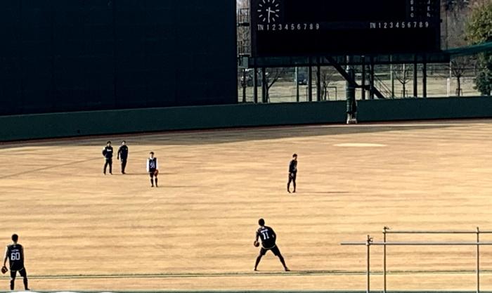 奥川選手のキャッチボール