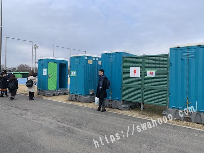 戸田球場の仮設トイレ