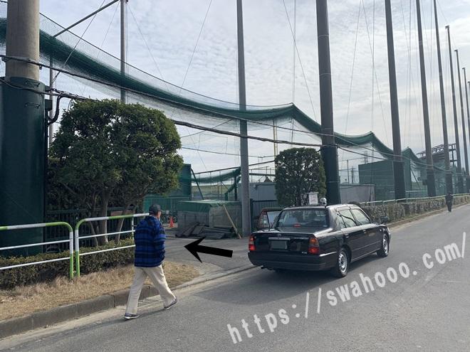 戸田球場前でタクシー下車